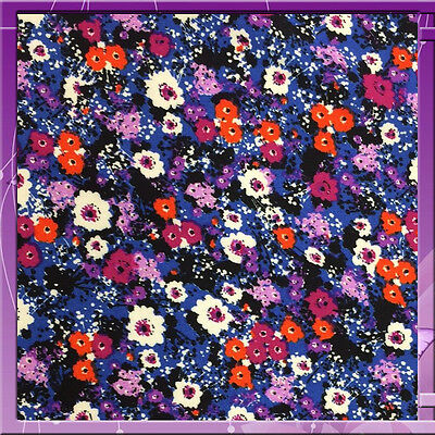 """100% RAYON CHALLIS SMALL FLOWER / FLORAL PRINT PURPLE 58"""" WIDE FABRIC SOLD BTY"""