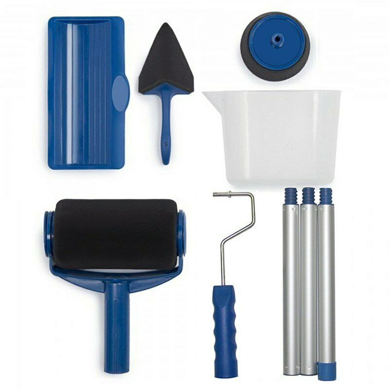 8Pcs Paint Roller Brushes Set Multifunctional Wall Decorative Handle Tools Kit