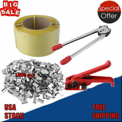 Heavy Duty Pallet Strapping Banding Kit Tensioner Tool Sealer Coil Reel Usa