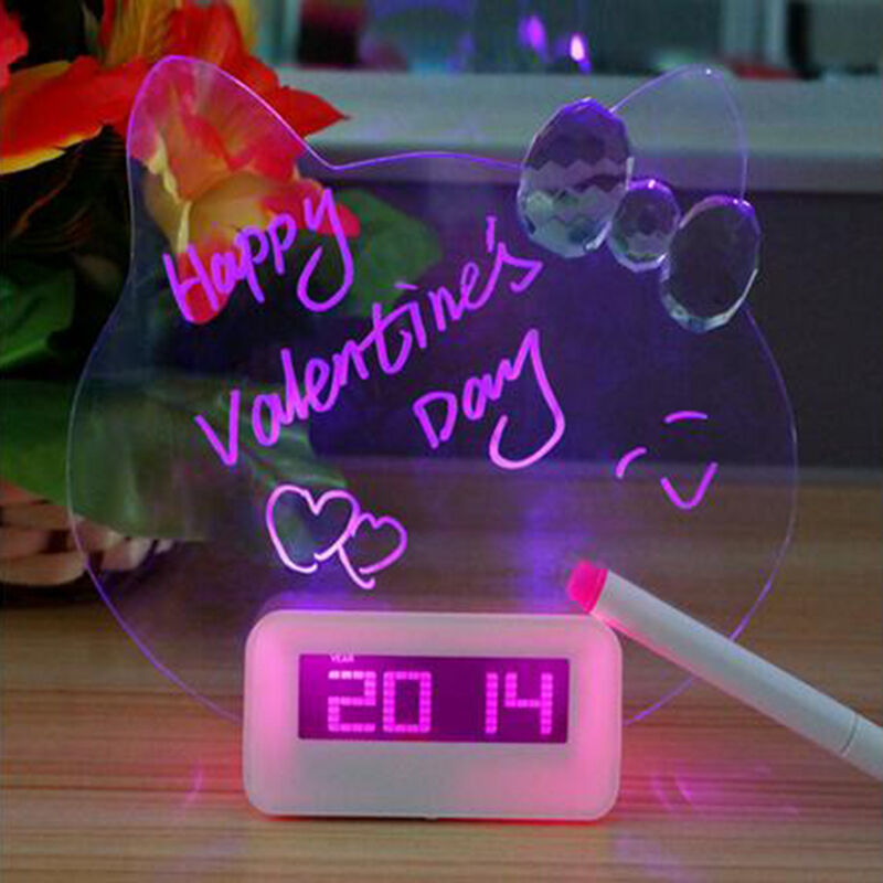LED Luminous Fluorescent Message Board Digital Alarm Clock Night light +Pen