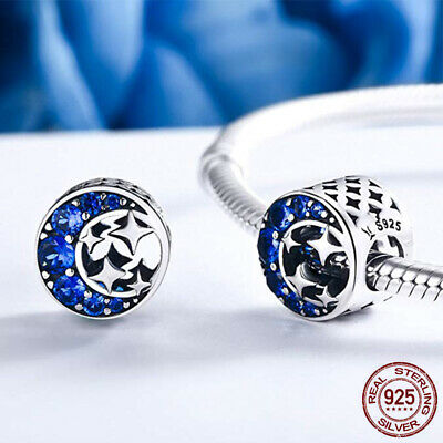 Blue Moon Beads Charms (Blue Crystal Zircon Beads 925 Sterling Silver Crescent Moon European)