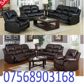 SOFA BOXING DAY lazy boy recliner sofa black real leather BRAND NEW 64895