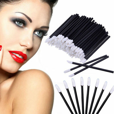 (100Pcs Disposable Lip Brush Gloss Lipstick Wands Applicator Brush Makeup Tool)