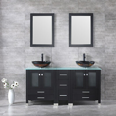 Bathroom Vanity 60inch Cabinet Glass Vessel Sink Bowl Faucet Top w/Mirror (Glass Sink Vanity Set)