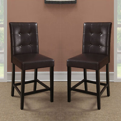 Set Of 2 Brown Soft Faux Leather Upholstered Counter Height Stools High Chairs