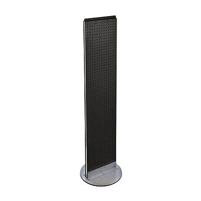 Black Pegboard Floor Display Stand Revolving Base 13.5 W X 60 H