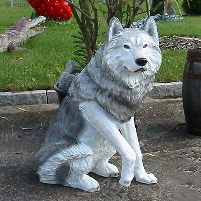 WOLF lebensgroß 65 cm hoch Garten Deko Tier Figur WILDTIER RAUBTIER INDIANER