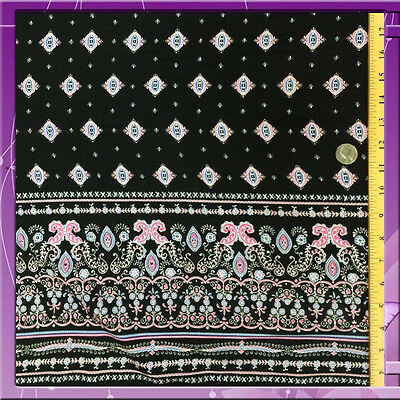 100% RAYON CHALLIS ONE BORDER 54 INCHES WIDE FABRIC BLACK / FUCHSIA PINK