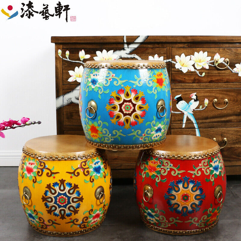 Leather Drum Stool Painted Furniture Decorative Musical Instruments