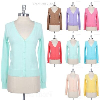 - Long Sleeve V Neck Front Button Cotton Cardigan Solid and Plain Comfortable Easy