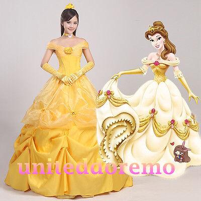New Beauty and Beast Princess Belle Flowery Cosplay Dress Halloween Costume