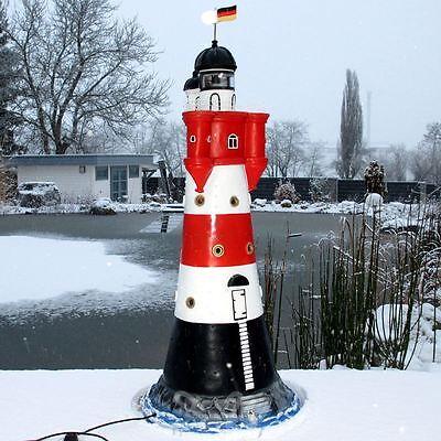 LEUCHTTURM ROTER SAND 120 cm mit DOPPELLICHT Deko Garten maritim NORDSEE Figur