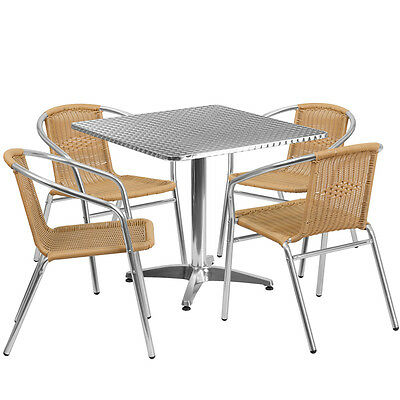 31.5square Aluminum Indoor-outdoor Restaurant Table With 4 Beige Rattan Chairs