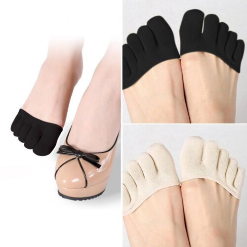 Forefoot Cover Pad Toe Sock Half Grip Heel Invisible Five Finger Socks Black