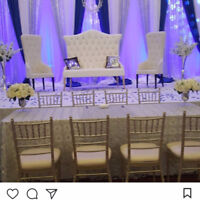 Wedding decor, BACKDROP $450 ,table cloth, Chiavari Chairs,Rent,