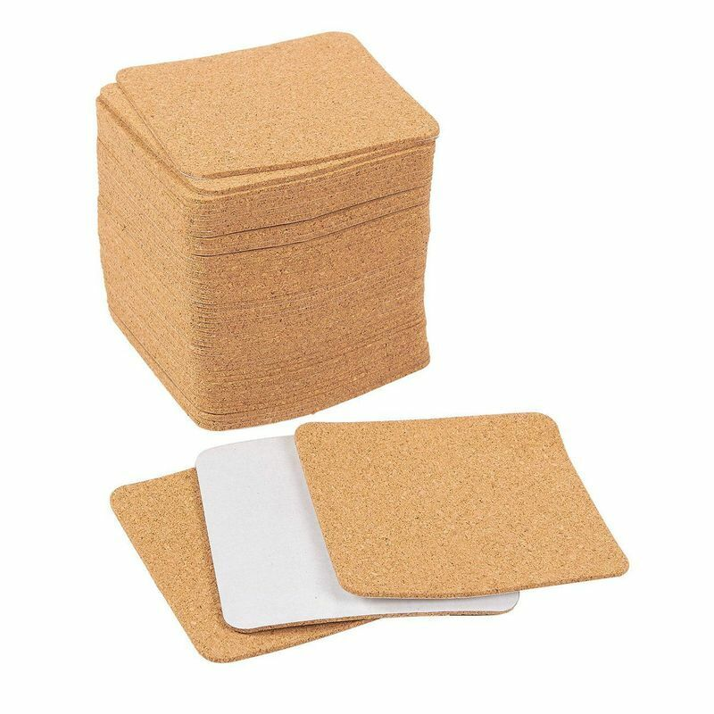 Self-adhesive Cork Squares - 50-pack Cork Tiles Cork Backing Sheets For Coasters