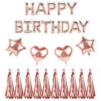 Self Inflating Balloons (Rose Gold Self Inflating Happy Birthday Tassel Balloon Letters Foil Party)