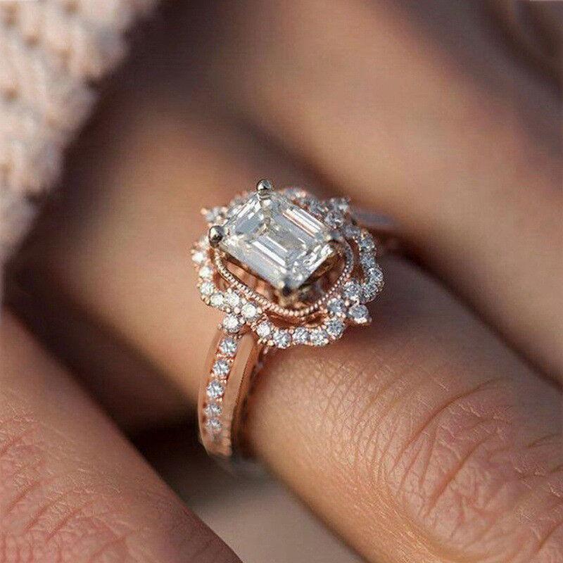 Fashion Women Ring Rose Gold Filled Emerald Cut White Sapphi