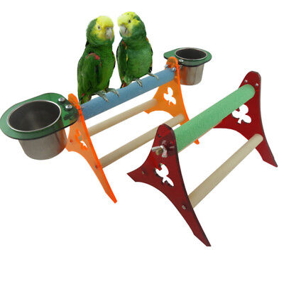 Funny Parrot Bird Perch Gym Pyramid Wooden Floor Activity Play Stand Toy