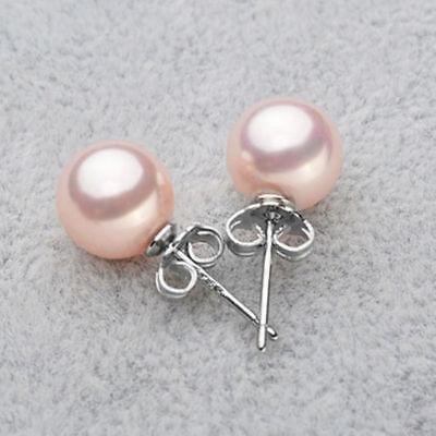 Pretty New Silver 10mm Light Pink South Sea Shell Pearl Post Stud Earrings 10mm Pearl Stud Earrings