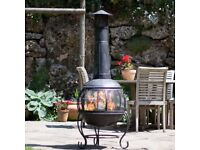 BRAND NEW La Hacienda Alamo Jumbo Steel Chiminea/ Barbeque/ BBQ/ Patio Heater/ Fire Pit in Black