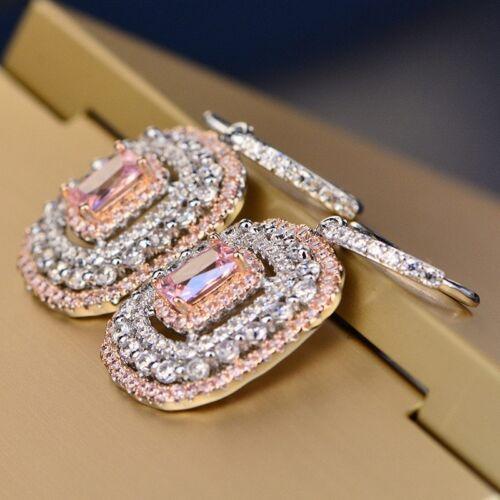Eardrop Earrings S925 Silver Topaz Elegant Pink Wedding Xmas Gifts For Her Women 1