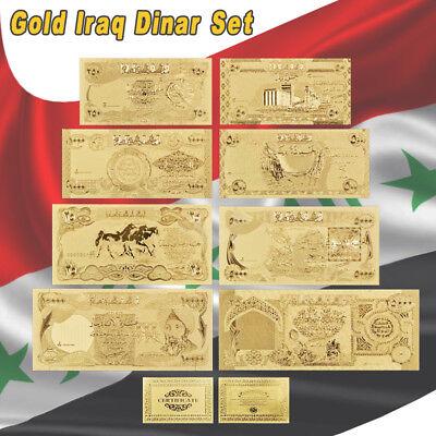 WR Iraq Dinar Set of 8 Gold Banknote 25-25000 Dinar Iraqi Middle East Money Bill