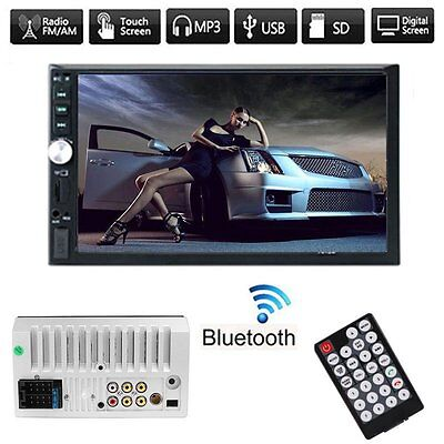 Car Radio HD 7'' Touch Bluetooth Stereo MP3 MP5 Player AUX/USB/Remote 2DIN