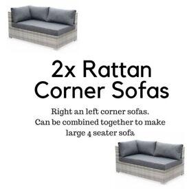 Right and Left Corner Rattan Garden Sofas/ Mixed Grey (Large Garden Sofa Potential)