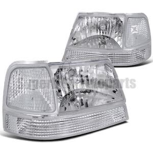 1998-2000 Ford Ranger Headlights+Signal Corner Lights Chrome w/ Clear reflector