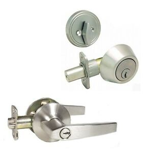 Satin Nickel Keyed Entry Door Knob Lever Lock Set W/ Dead Bolt- FREE KEY ALIKE