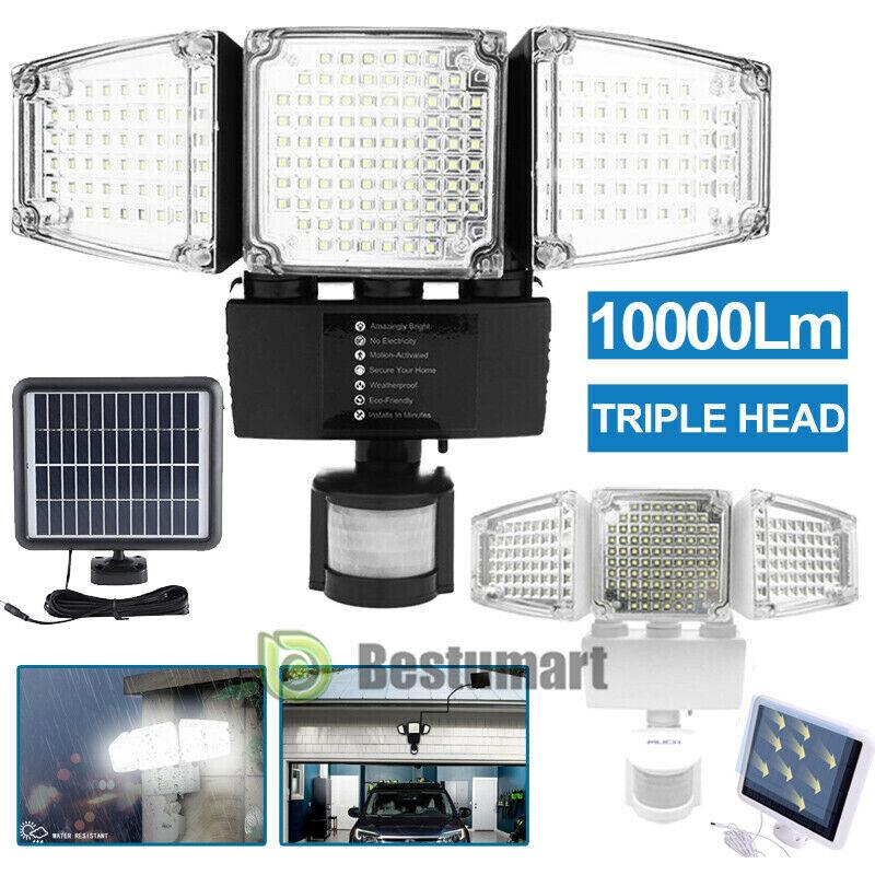 3-Head 128/188 LED Solar Security Motion Flood Light 10000LM Outdoor Sensor Lamp