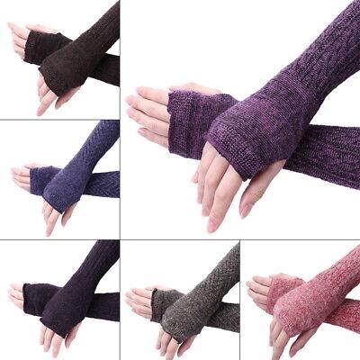 USA Womens Warm Knit Wool Fingerless Half Finger Thick Gloves Solid Mittens - Womens Fingerless Gloves