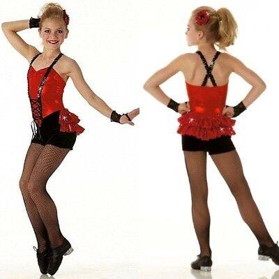 Cupid Shuffle Dance Costume Biketard with Back Skirt & Mitts Tap CXS CS - Girl Cupid Costume