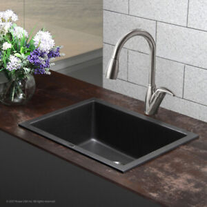 NEW Kraus 18 X 24 Dual Mount Single Bowl Granite Sink Onyx Black