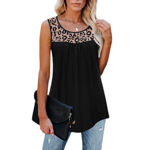 Women Casual Sleeveless Crew Neck Leopard T Shirt Loose Blouse Tunic Tank Tops Clothing, Shoes & Accessories