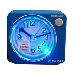 original Seiko Bedside beep alarm clock Snooze Sweep LED+Free Ship~QHE100L blue