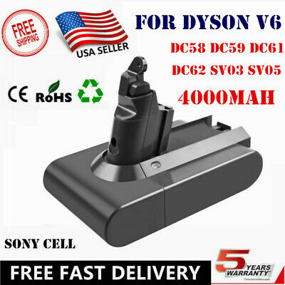 4000mAh For Dyson Replacement Battery V6 Animal DC58 DC59  DC61 DC62 Absolute US