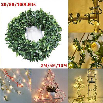 2m-10m Leaves Ivy Leaf Garland Fairy String Lights Home Wedding Party Decor