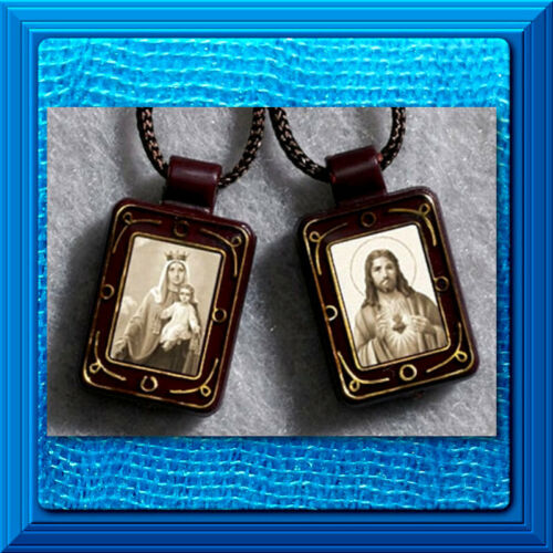 Catholic Sepia Tone Sacred Heart Our Lady of Mt. Carmel Moulded Scapular