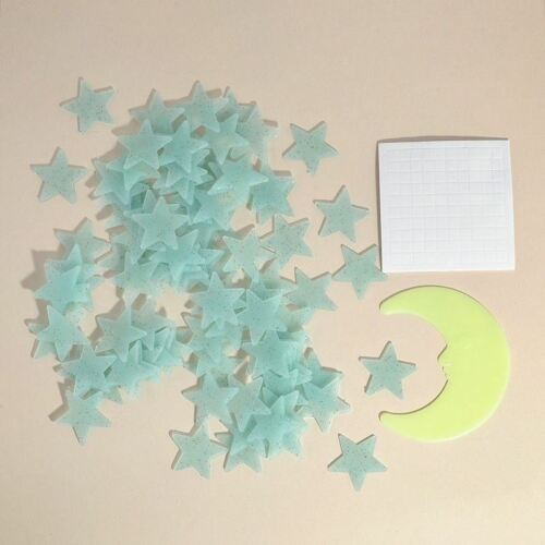 Blue 100 3D Wall Ceiling Glow In The Dark Stars with Moon Kids Plastic Stickers 3