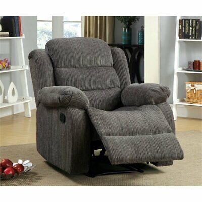 Bowery Hill Chenille Recliner in Gray