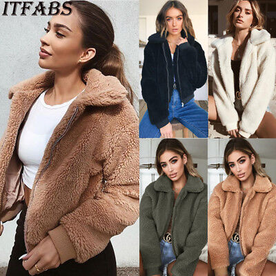 US Women Ladies Warm Teddy Bear Fleece Tops Jacket Zip Up Oversize Outwear Coats