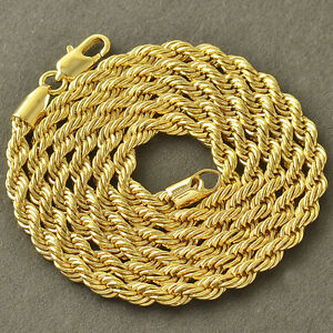 24 inches 18k Yellow Gold Mens Link Snake Rope Chain Necklace