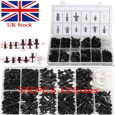 350pcs 12 Sizes Car Push Pin Rivet Trim Clip Panel Plastic Interior Assortments