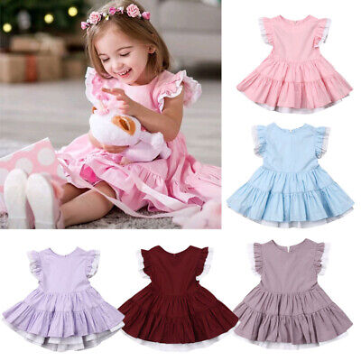 US Toddler Kids Baby Girls Pageant Party Princess Bridesmaid Formal Gown Dress