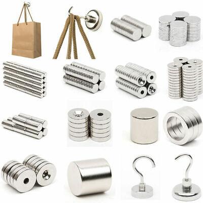 1-500pcs N52n50n35 Strong Magnets Rare Earth Neodymium Round Block Hook Magnet