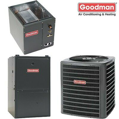 4 Ton Goodman 14 SEER 80% AFUE Dual Fuel Heat Pump 100K BTU System GSZ140481
