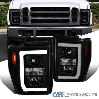 For 08-10 Ford F250 F350 F450 Black Smoke LED DRL Strip Projector Headlights 2PC