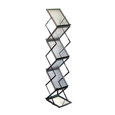 Folding 6 Pocket Magazine Display Brochure Catalog Holder Literature Stand Rack